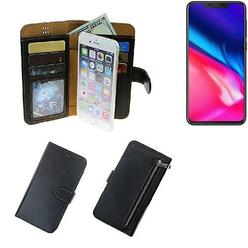K-S-Trade® Für Cubot P201 Portemonnaie Schutz Hülle Schwarz Aus Kunstleder Walletcase Smartphone Tasche Für Cubot P201 - Vollwertige Geldbörse Mit Handyschutz