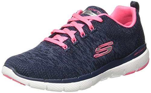 Skechers Damen Flex Appeal 3.0 Sneaker, ((Navy Knit Mesh/Hot Pink Trim Nvhp), 3 EU - Memory-foam