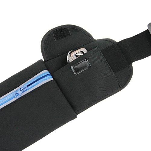 FakeFace LYCRA Gürteltasche Hüfttasche mit Schaumstoff Polster Wasserdichtem Coating Reflektierendem Material Reißverschluss für Radfahren Joggen () Schwarz
