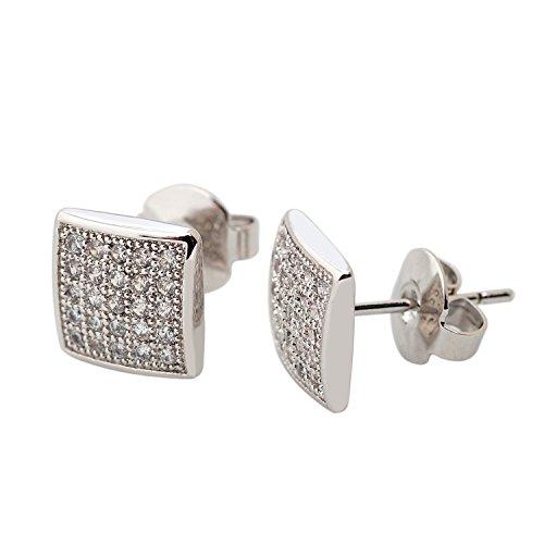 CheersLife pendientes de acero inoxidable acero quirrgico 316L 18K plateado para la Mujer/ Hombre …