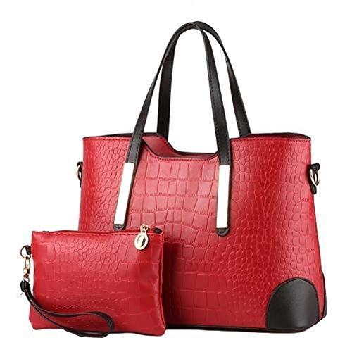 2 Teile/Satz Frau Tasche Set Einfarbig Mode Weibliche Kunstleder Luxus Schulter Crossbody Einkaufstasche Handtasche Designer (Color : Wine Red, Size : M) (Designer Tasche Tasche Schulter 2)