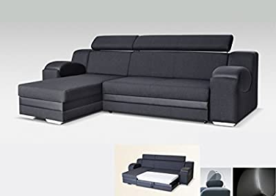 Universal Hand Corner Sofa Bed - Madrit - Black- Fabric & Faux Leather 260cm from Megan Furniture