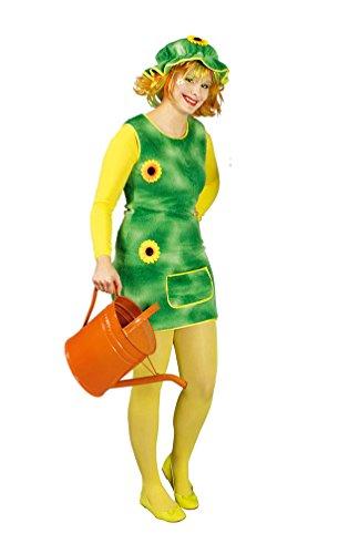 (Karneval-Klamotten Gärtner-in Kostüm Damen grün Karneval Damenkostüm Sonnenblumen Plüsch-Kleid inkl. Haube Größe 40/42)