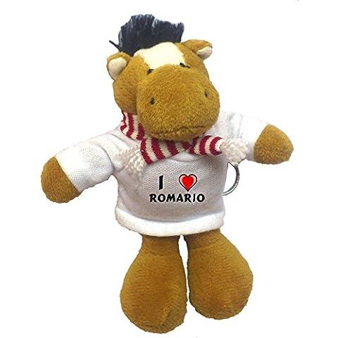 Caballo de peluche (llavero) con Amo Romario en la camiseta (nombre de pila/apellido/apodo)