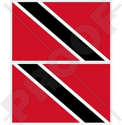 TRINIDAD & TOBAGO Flagge, Fahne Karibik 100mm Auto & Motorrad Aufkleber, x2 Vinyl Stickers (Trinidad Auto Fahne)
