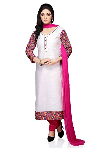 Utsav Fashion Women's White Art Bhagalpuri Silk Churidar Kameez-