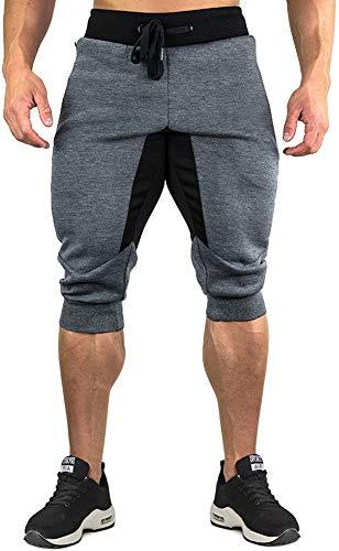 TACVASEN Jogging Shorts Herren Komfortable Baumwolle Shorts 3/4 Trainingshose Sommer Kurz Sporthose für Männer Leicht Cotton Workout Shorts Cargo Shorts Grau Grey 5-pocket-classic-capris