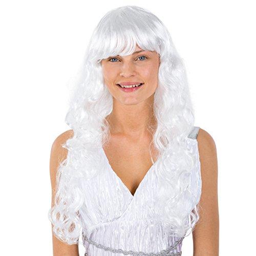 Perücke Weiße Haare | lange lockig | Engel Barock Weihnachten Fee Elfe Prinzessin Fasching (Himmlische Göttin Kostüme)