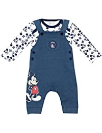 Disney Baby Boys Mickey Mouse Dungaree Set Ages 0 To 18 Months
