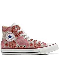 mys Converse Custom Printed Italian Style Red Pink Paisley