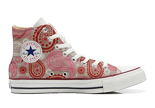 Converse All Star Hi Chaussures Coutume Mixte Adulte (Produit Artisanal) Red Pink Paisley