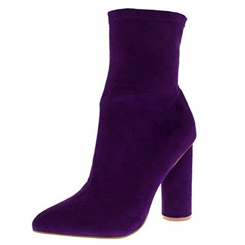 Viva Damen Socke Fit Spitze Mode Schick Kleid Block Ferse Stiefeletten - Lila - UK5/EU38 - KL0225 (Lila Stiefeln)