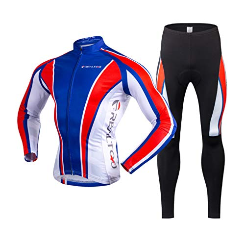 KIKIYA Herren Radsportbekleidung Anzug Winter Thermo Fleece Sportswear Set Langarm Winddicht Jersey Mantel Jacke + 3D Gepolsterte Hose Hose,Blue,M