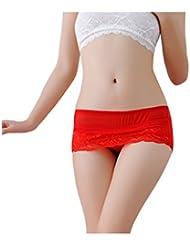 Bestgift Damen Unterwäsche Spitze Lace Ultradünner Atmungsaktive Slip Unterhose Shorts schlüpfer