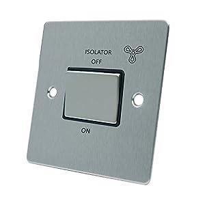 AET FSC3PFANBS Satin Chrome Flat Black Insert Metal Rocker Switch-10 Amp 3-Pole Fan Isolator Switch