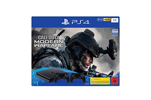 PlayStation 4  Slim inkl. 2 Controller und Call of Duty: Modern Warfare - Konsolenbundle (1TB, schwarz, Slim)
