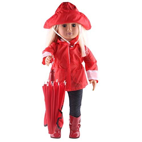 Zolimx Puppenregenmantel 6 Stücke Set, Kleidung Hut Pullover Jeans Anzug für American Dolls 18 Zoll Zubehör Mädchen Spielzeug