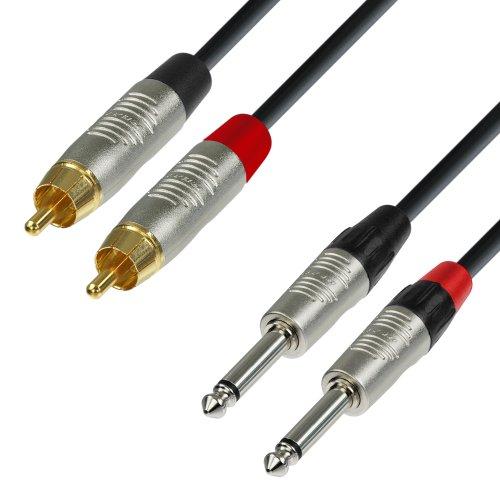 Adam Hall 4 Star Series Audiokabel Rean (3m, 2x Cinch-Stecker männlich auf 2x 6,3mm Mono-Klinke) (Cinch-zu-1 6 4 Männlich)