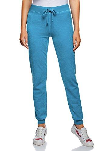 Oodji ultra donna pantaloni sportivi in velluto con laccetti, blu, it 46 / eu 42 / l