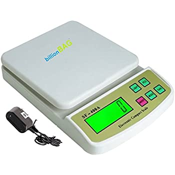 billionBAG Compact Scale With Tare Function SF 400A with Adaptor 10 kg Digital Multi-Purpose Kitchen Weighing Scale