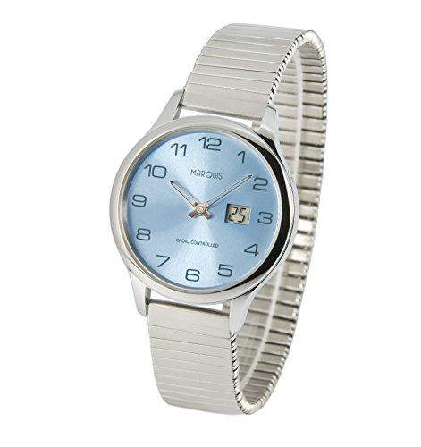 MARQUIS Damen Funkuhr, Zugband, Gehäuse und Armband aus Edelstahl, Armbanduhr, Junghans-Uhrwerk 964.4905