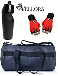 VELLORA Soft Leather Duffel Gym Bag (Black) With Penguin Sport Sipper, Gym Sipper Water Bottle And Red Color Gloves