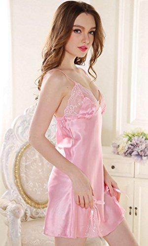 Aivtalk Mesdames Nuisette Satin Robe Chemise de nuit Col V sans Manches Dentelle Lingerie Sexy pour Femme Luxe Débardeur avec bretelle Rose/Rouge/Gris argenté Rose