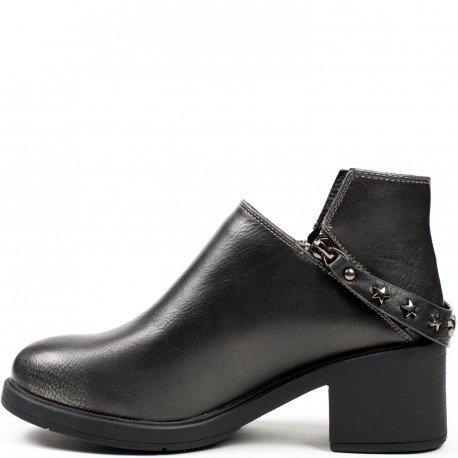 Ideal Shoes - Bottines asymétriques en similicuir Tiffanie Noir