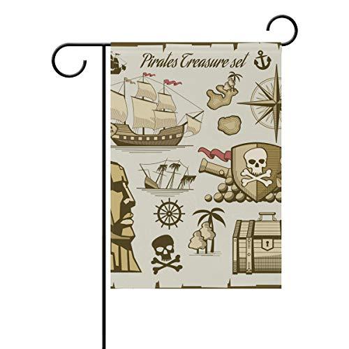 SUNOP Polyester-Gartenflagge Piratenschiff, Banner 30,5 x 45,7 cm, für den Außenbereich, Haus, Garten, Blumentopf, Dekoration, Party, Hausflagge