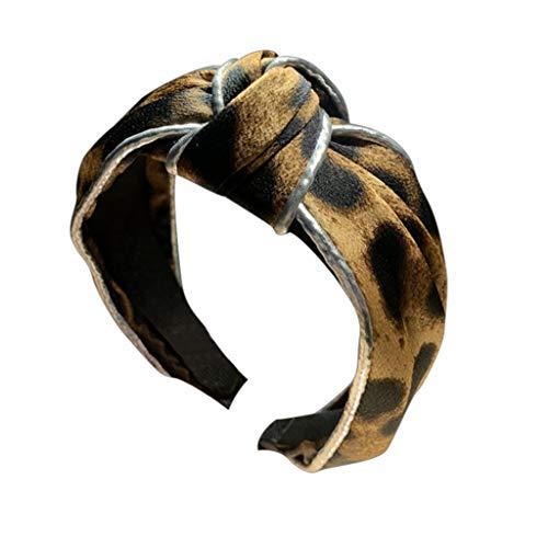 iCerber Haarband,Kreuzknoten Mädchen breites Haarband Leopardenmuster Damen Haarband Frauen Stirnband Schleife-Vintage-Wunderschön Stirnband