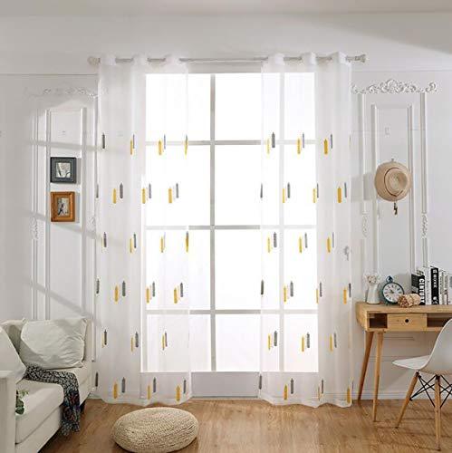 Wdxn voile tenda finestra con occhielli del ricamo floreale della mano del modello della tenda pura bianca con adatti a camera da letto del salone, 300 * 270cm