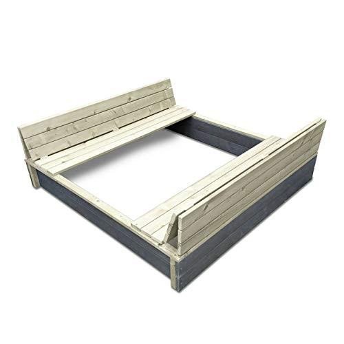 FidgetGear EXIT Aksent Sandkasten aus Holz mit Bänken und Abdeckung für draussen as picture show One