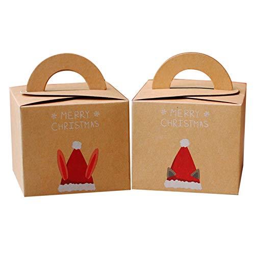 10pcs assortiti stile merry christmas candy regalo frutta presenti scatole di carta kraft con maniglia per i rifornimenti del partito festival