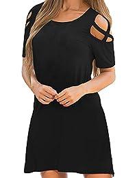 OPAKY Vestido Verano Mujer Casual Vestido de Camiseta de Manga Corta con Hombros Descubiertos y Manga Corta para Mujer Vestidos Verano…