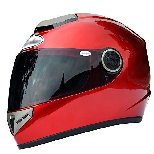 XIN-wei Motorrad Crash Modular Helm - Full Face Racing Motorradhelm Sonnenblende, Für Erwachsene Männer Frauen,Red-L(55-58cm)