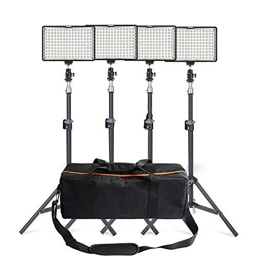 KBKG821 4er-Pack Dimmbares zweifarbiges 200-LED-Videoleuchten- und Standbeleuchtungs-Kit - LED-Panel (3200-5600K) mit Lichtstativ für Videoaufnahmen mit YouTube Studio Photography (Diffusor Kit Home)