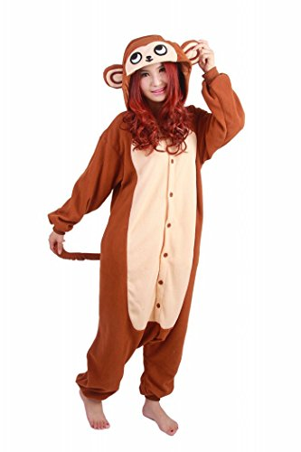 wotogold Tier Brauner Affe Pyjama Unisex Erwachsene und Kinder Cosplay Kostüme (Nase Kostüm Affen)