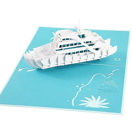 ☘ XXL 3D-Pop-Up-Karte mit weißer Luxus-Yacht z.B. als Reise-Gutschein, Wellness-Urlaub, Verpackung für Geldgeschenke o. Urlaubsgeld, Erlebnis-Gutschein für Kurzurlaub, Urlaubskarte