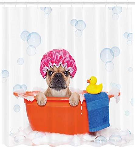 Abakuhaus Komisch Duschvorhang, Haustier Hund mit Bad, Moderner Digitaldruck mit 12 Haken auf Stoff Wasser und Bakterie Resistent, 175 x 200 cm, Multicolor