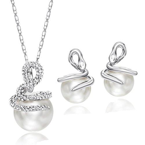 NEOGLORY Conjunto de Joyas con Blancos Rhinestones Checos Perlas Blancas Collar Pendientes Serpientes Joya Original Mujer
