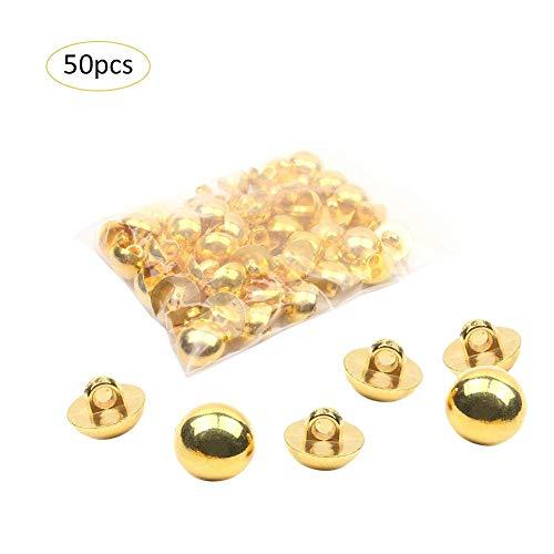 Botones de metal de cúpula completa de 50 piezas con acabado en oro pulido para la mayoría de las aplicaciones, desde disfraces hasta vestidos      Puntos de bala:   1. Los botones de la cúpula están hechos de resina duradera.   2. Con acabado en ...
