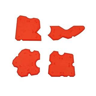 Profi Fugenglätter Silikon-Entferner 4-teiliges Fugenwerkzeug-Set für Dichtstoffe | Radiusschablone Kunststoff rot | hochelastisch - säurebeständig - formstabil | Baubeschläge von GedoTec®