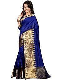 Anjani Enterprise Women's Cotton Saree With Blouse Piece (Sk-138 Royal Blue (1)_Blue)