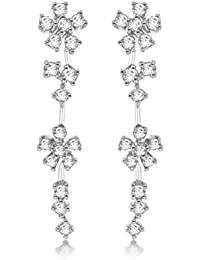 Tuscany Silver Sterling Silver Rhodium Plated Cubic Zirconia Floral Drop Earrings