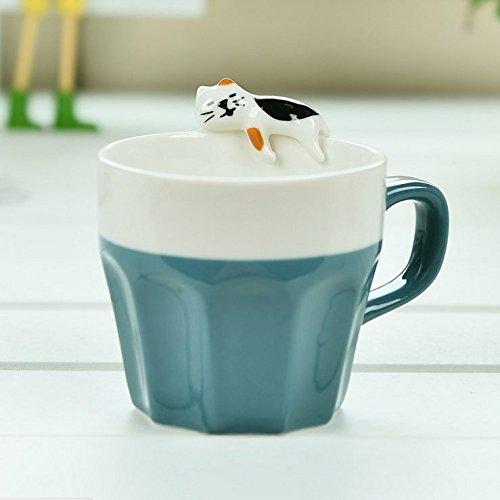 JYSPORT Katze Kaffeetassen Unterhalt Espresso Tassen Creative Cappuccino Porzellanbecher (Blaue Katze)