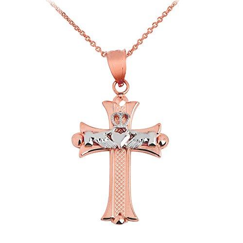 Donne Collana Pendente Claddagh Croce Bianco E 10 Ct Rosa Oro (Viene Fornito Con Una Catena Da 45cm) - Rosa Claddagh Pendente