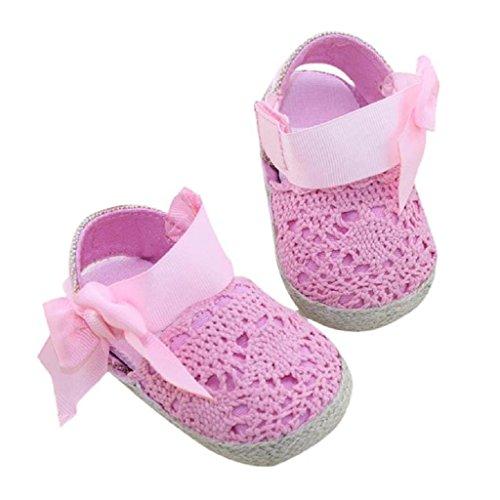Auxma Baby Prewalker Schuhe,Erste Schritte für Baby-Mädchen,Bowknot-Sandalen,Spitzenblume für 0-6 6-12 12-18 Monat (11 0-6 M, Rosa) (Knit Stiefel Lammfell)