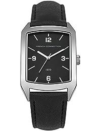 French Connection PU SFC113BB - Reloj de cuarzo para hombres con esfera negra y correa negra de cuero