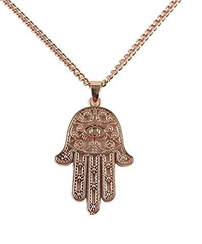 GOOD.designs Damen - Halskette mit Hand der Fatima (Hamsa) Anhänger, hand of fatima in Gold, Silber oder Roségold (Roségold)