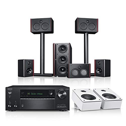 Teufel System 4 THX AVR für Dolby Atmos 5.1.2-Set Schwarz/Weiß/Schwarz Film Subwoofer Lautsprecher Movie Musik Raumklang Sound Heimkino 5.1